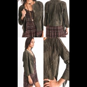 Willow & Clay Suede Fringe Jacket